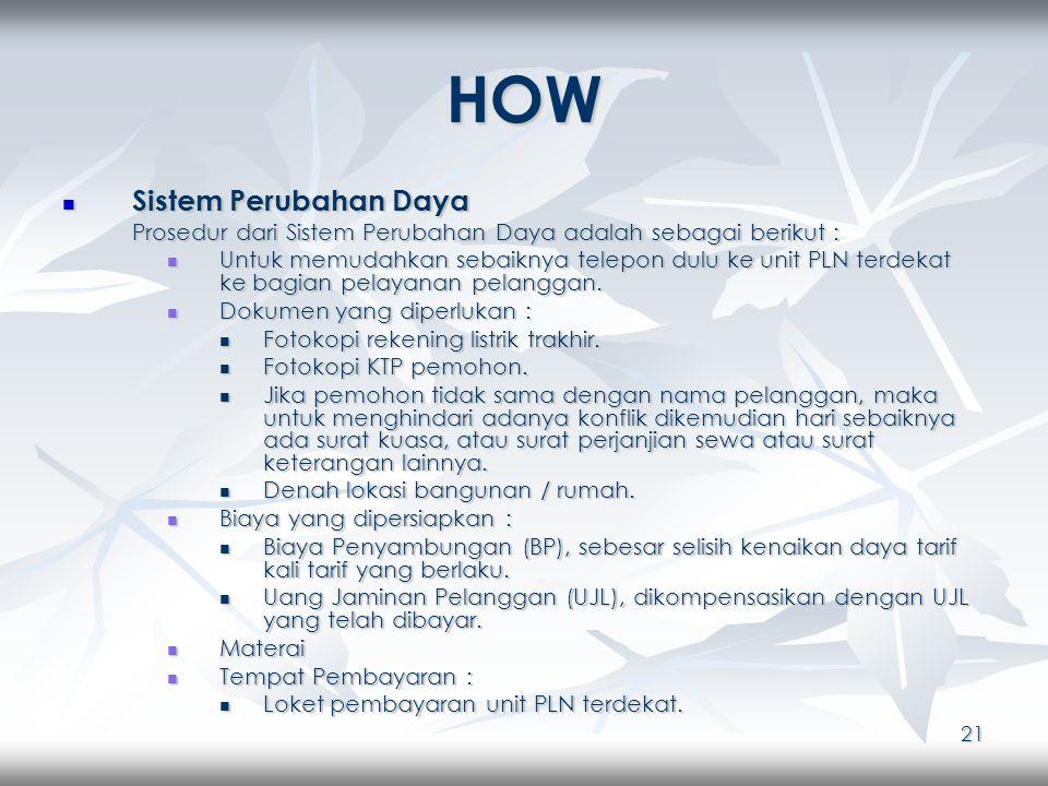 21 HOW Sistem Perubahan Daya Sistem Perubahan Daya Prosedur dari Sistem Perubahan Daya adalah sebagai berikut : Untuk memudahkan sebaiknya telepon dulu ke unit PLN terdekat ke bagian pelayanan pelanggan.