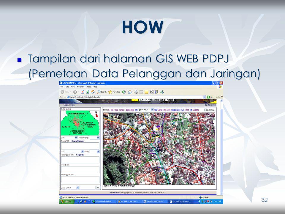 32 HOW Tampilan dari halaman GIS WEB PDPJ (Pemetaan Data Pelanggan dan Jaringan) Tampilan dari halaman GIS WEB PDPJ (Pemetaan Data Pelanggan dan Jaringan)