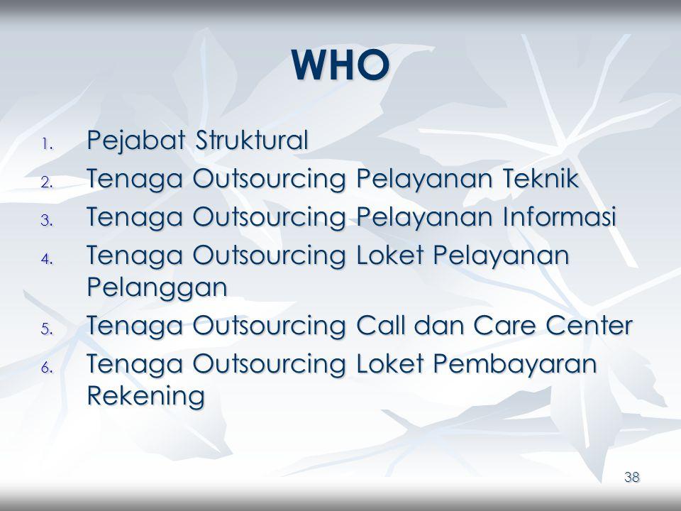 38 WHO 1. Pejabat Struktural 2. Tenaga Outsourcing Pelayanan Teknik 3.
