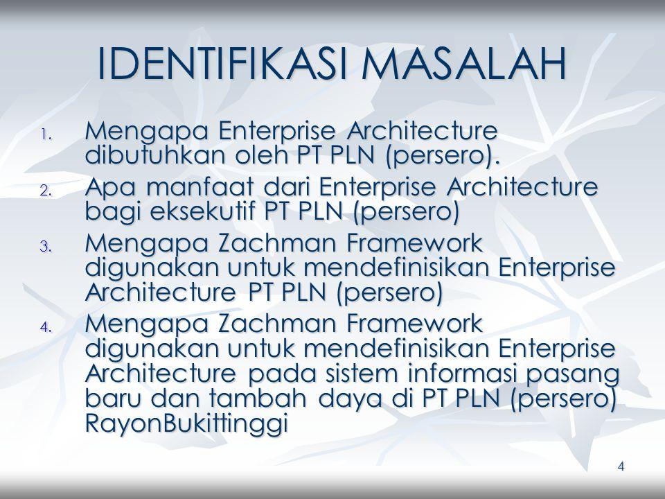 4 IDENTIFIKASI MASALAH 1. Mengapa Enterprise Architecture dibutuhkan oleh PT PLN (persero).