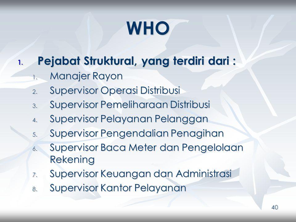 40 WHO 1. Pejabat Struktural, yang terdiri dari : 1.
