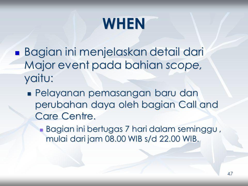 47 WHEN Bagian ini menjelaskan detail dari Major event pada bahian scope, yaitu: Bagian ini menjelaskan detail dari Major event pada bahian scope, yaitu: Pelayanan pemasangan baru dan perubahan daya oleh bagian Call and Care Centre.