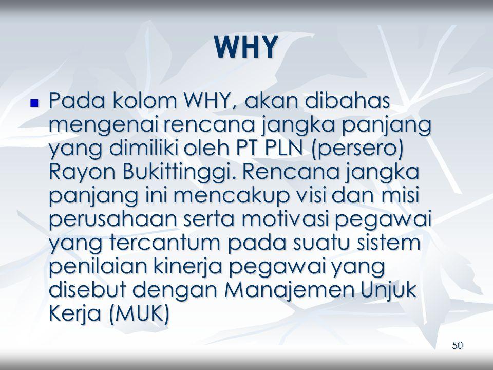 50 WHY Pada kolom WHY, akan dibahas mengenai rencana jangka panjang yang dimiliki oleh PT PLN (persero) Rayon Bukittinggi.