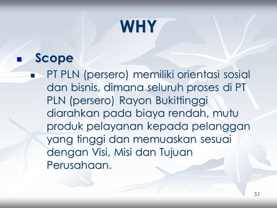 51 WHY Scope Scope PT PLN (persero) memiliki orientasi sosial dan bisnis, dimana seluruh proses di PT PLN (persero) Rayon Bukittinggi diarahkan pada biaya rendah, mutu produk pelayanan kepada pelanggan yang tinggi dan memuaskan sesuai dengan Visi, Misi dan Tujuan Perusahaan.