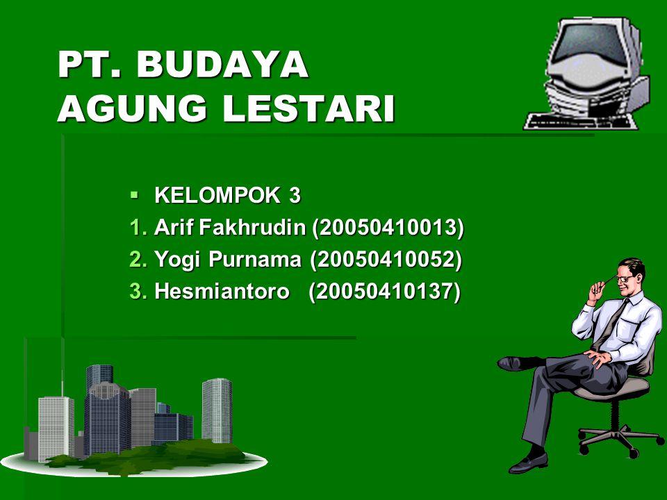 PT. BUDAYA AGUNG LESTARI  KELOMPOK 3 1.Arif Fakhrudin (20050410013) 2.Yogi Purnama (20050410052) 3.Hesmiantoro (20050410137)