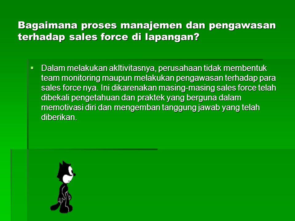Bagaimana proses manajemen dan pengawasan terhadap sales force di lapangan?  Dalam melakukan akltivitasnya, perusahaan tidak membentuk team monitorin