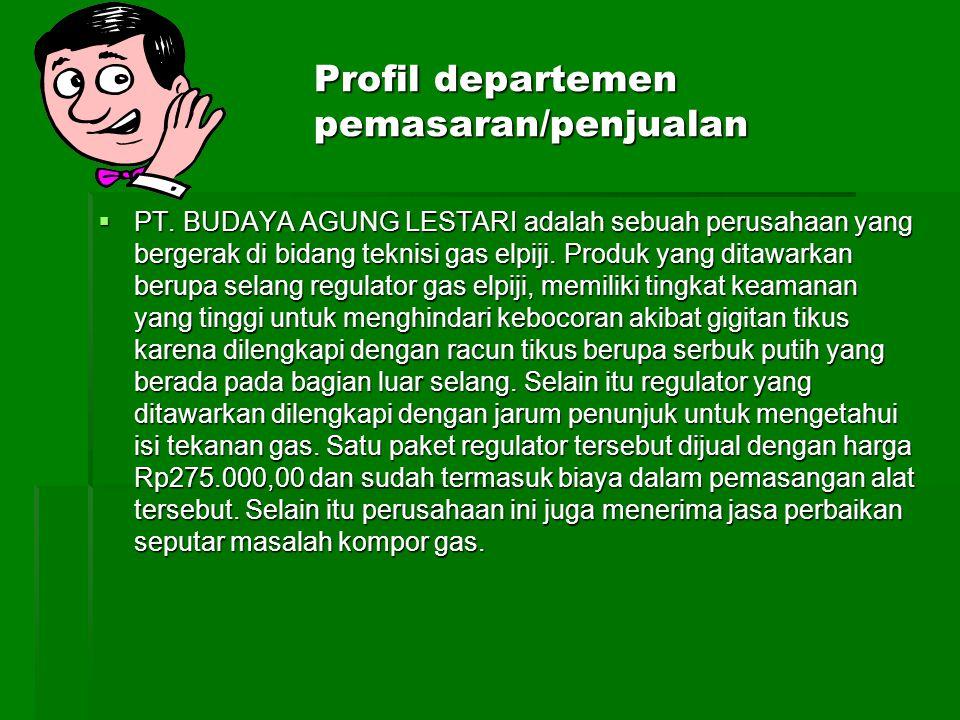 Profil departemen pemasaran/penjualan  PT. BUDAYA AGUNG LESTARI adalah sebuah perusahaan yang bergerak di bidang teknisi gas elpiji. Produk yang dita