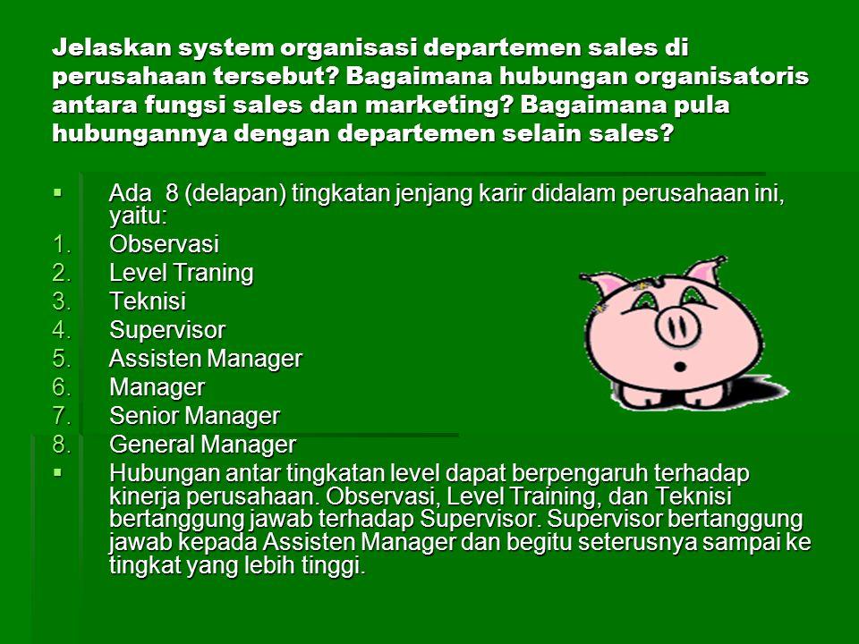 Jelaskan system organisasi departemen sales di perusahaan tersebut? Bagaimana hubungan organisatoris antara fungsi sales dan marketing? Bagaimana pula