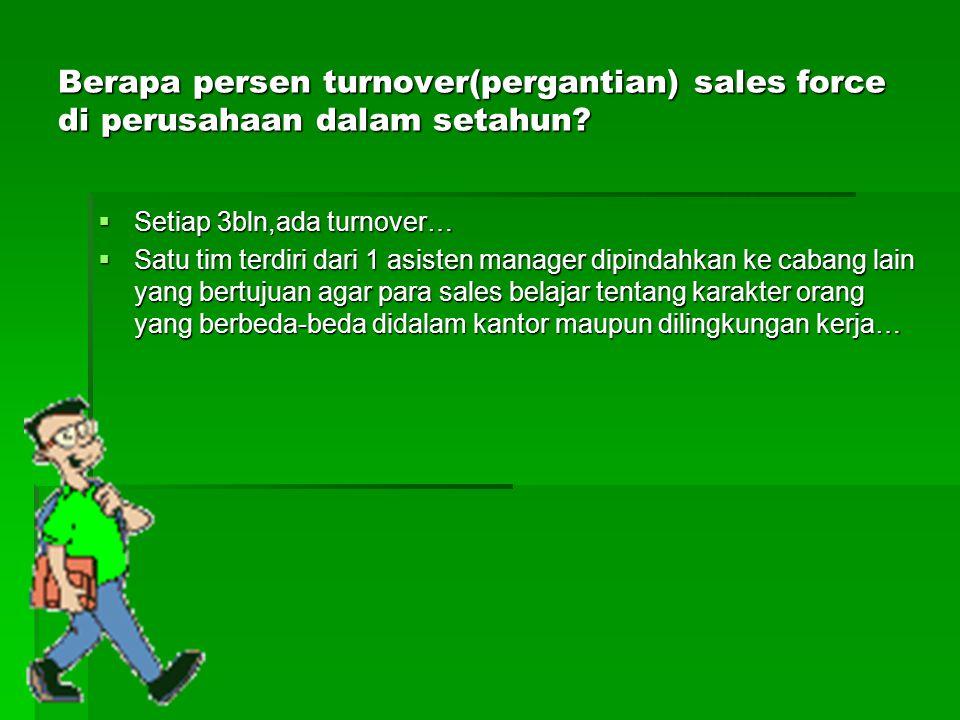 Berapa persen turnover(pergantian) sales force di perusahaan dalam setahun?  Setiap 3bln,ada turnover…  Satu tim terdiri dari 1 asisten manager dipi