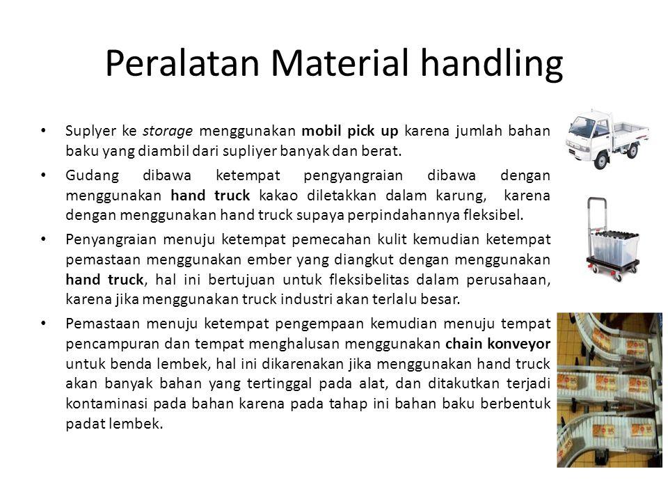 Peralatan Material handling Suplyer ke storage menggunakan mobil pick up karena jumlah bahan baku yang diambil dari supliyer banyak dan berat.