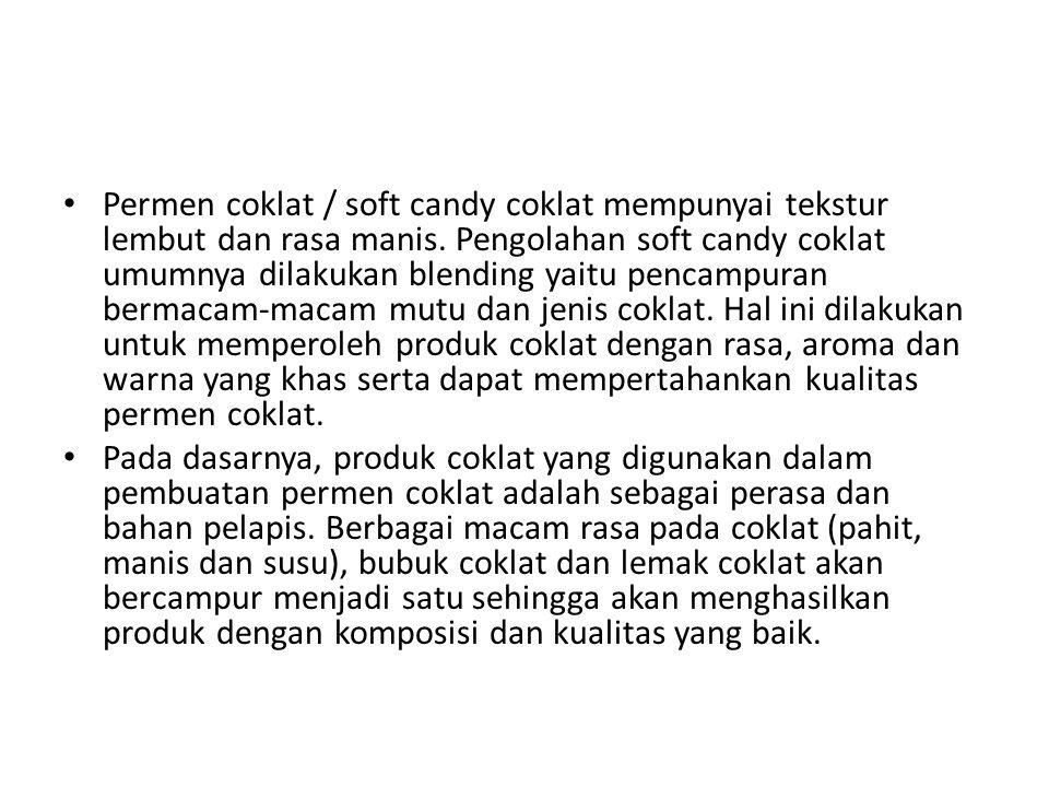 Permen coklat / soft candy coklat mempunyai tekstur lembut dan rasa manis.