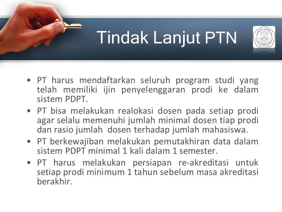 Tindak Lanjut PTN PT harus mendaftarkan seluruh program studi yang telah memiliki ijin penyelenggaran prodi ke dalam sistem PDPT. PT bisa melakukan re