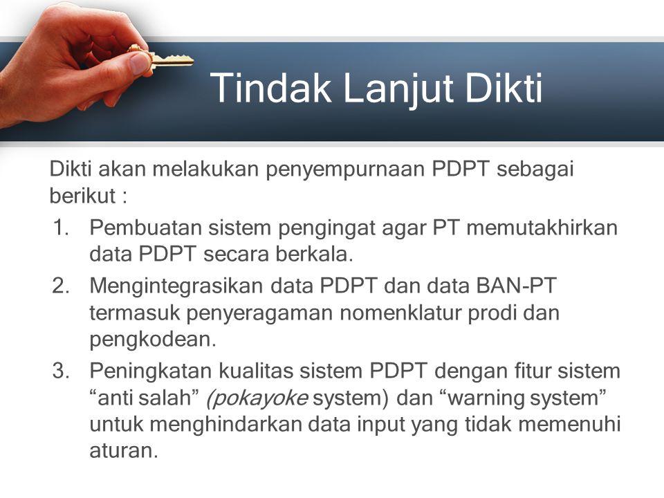 Tindak Lanjut Dikti Dikti akan melakukan penyempurnaan PDPT sebagai berikut : 1.Pembuatan sistem pengingat agar PT memutakhirkan data PDPT secara berk