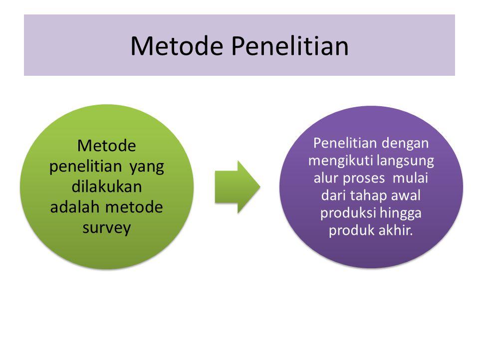 Metode Penelitian Metode penelitian yang dilakukan adalah metode survey Penelitian dengan mengikuti langsung alur proses mulai dari tahap awal produks