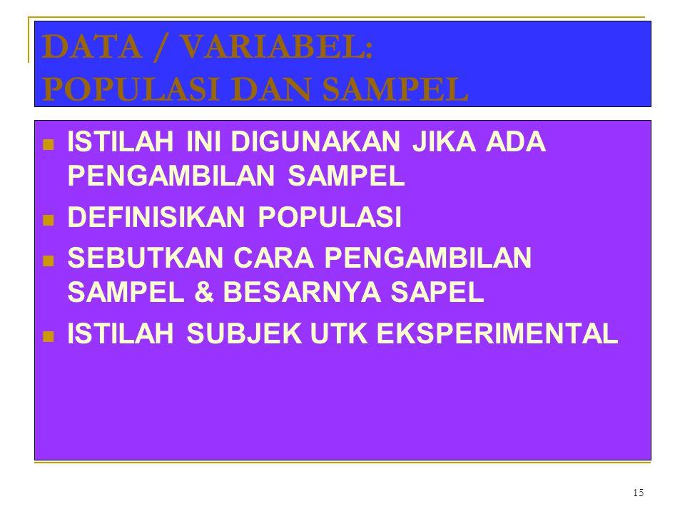 15 DATA / VARIABEL: POPULASI DAN SAMPEL ISTILAH INI DIGUNAKAN JIKA ADA PENGAMBILAN SAMPEL DEFINISIKAN POPULASI SEBUTKAN CARA PENGAMBILAN SAMPEL & BESA