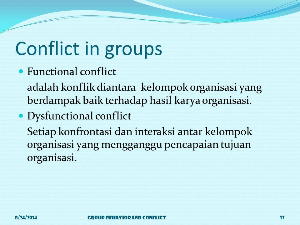 Conflict in groups Functional conflict adalah konflik diantara kelompok organisasi yang berdampak baik terhadap hasil karya organisasi.