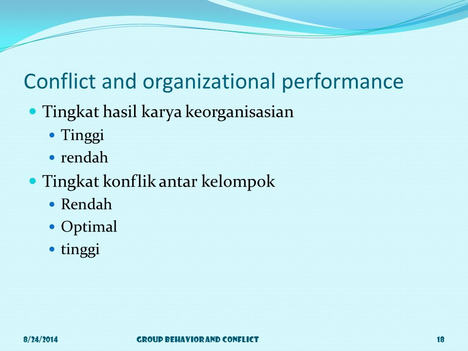 Conflict and organizational performance Tingkat hasil karya keorganisasian Tinggi rendah Tingkat konflik antar kelompok Rendah Optimal tinggi 8/24/2014Group Behavior and Conflict18