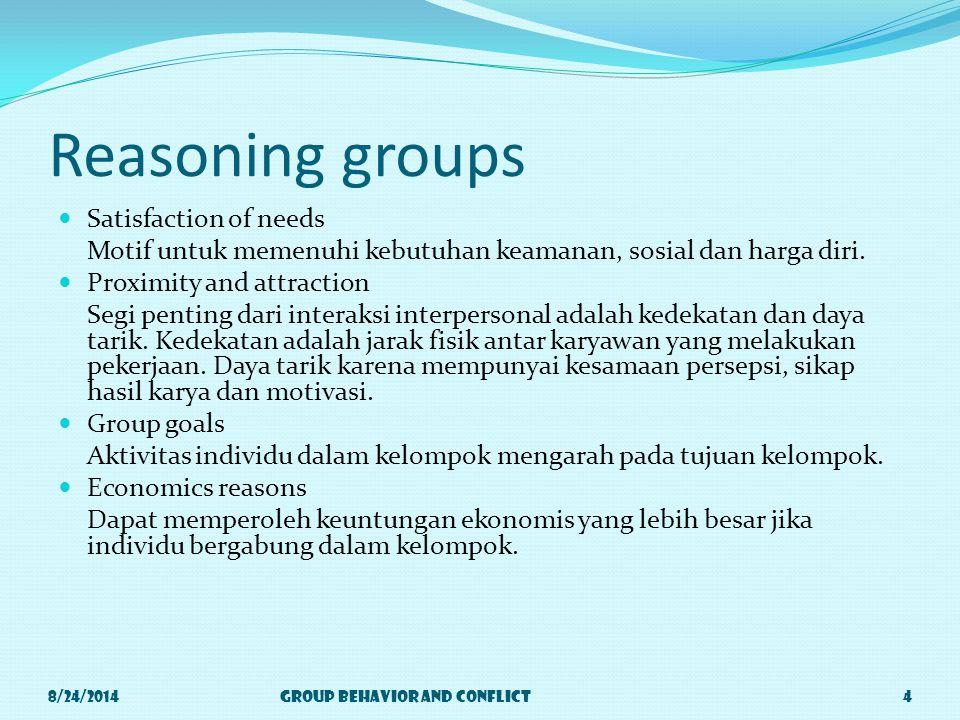 Reasoning groups Satisfaction of needs Motif untuk memenuhi kebutuhan keamanan, sosial dan harga diri.
