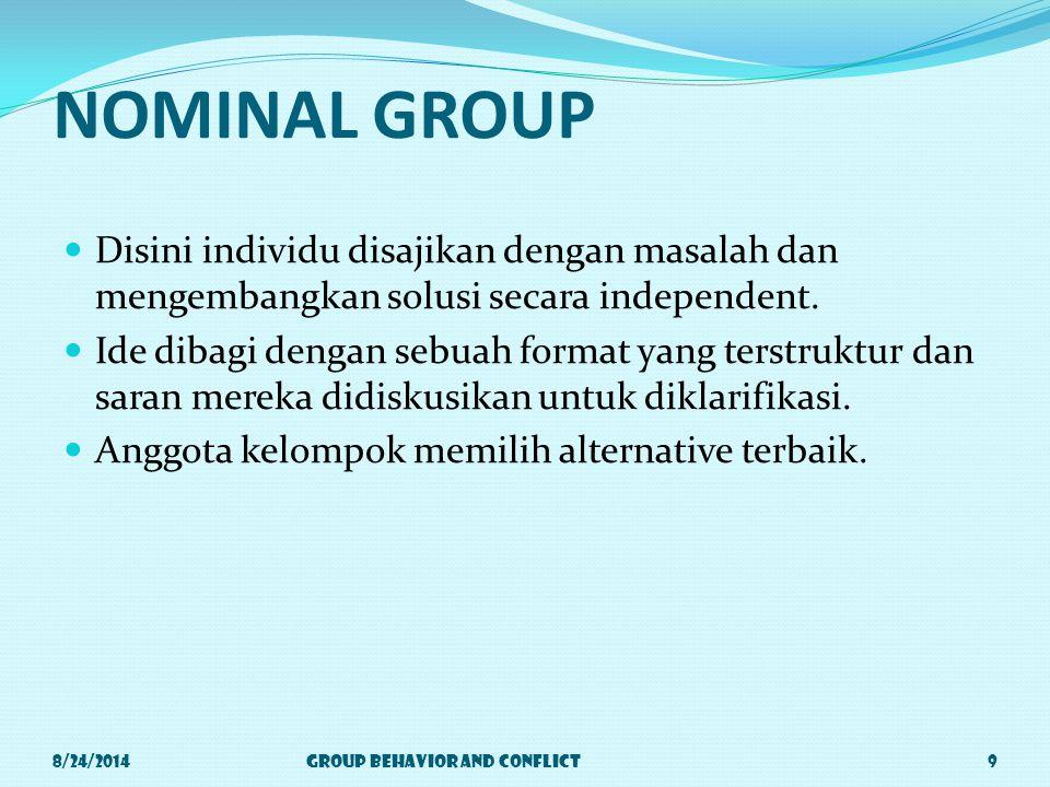 NOMINAL GROUP Disini individu disajikan dengan masalah dan mengembangkan solusi secara independent.