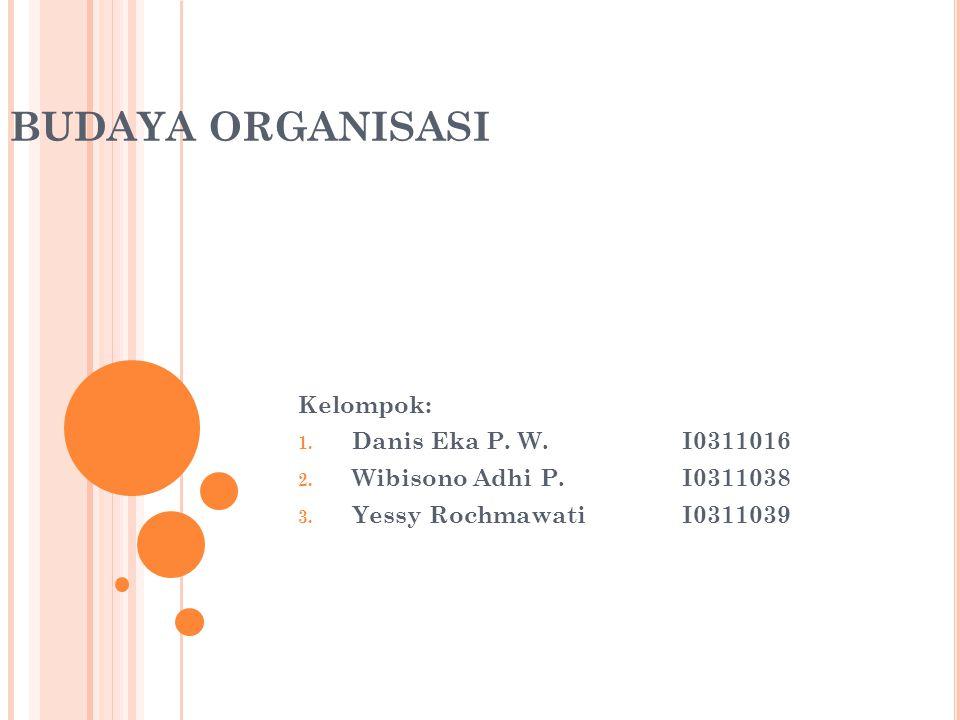 BUDAYA ORGANISASI Kelompok: 1. Danis Eka P. W.I0311016 2.