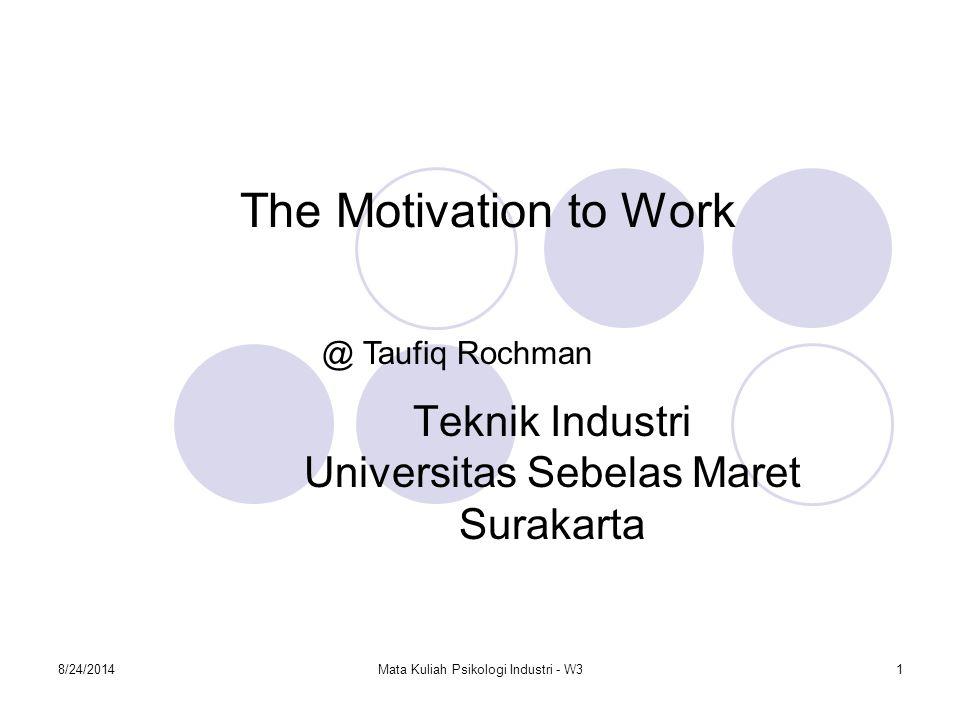 8/24/2014Mata Kuliah Psikologi Industri - W32 What is Work Motivation Motivasi berkaitan dengan arousal, direction and persistence of behavior (Berry L.M,1998).