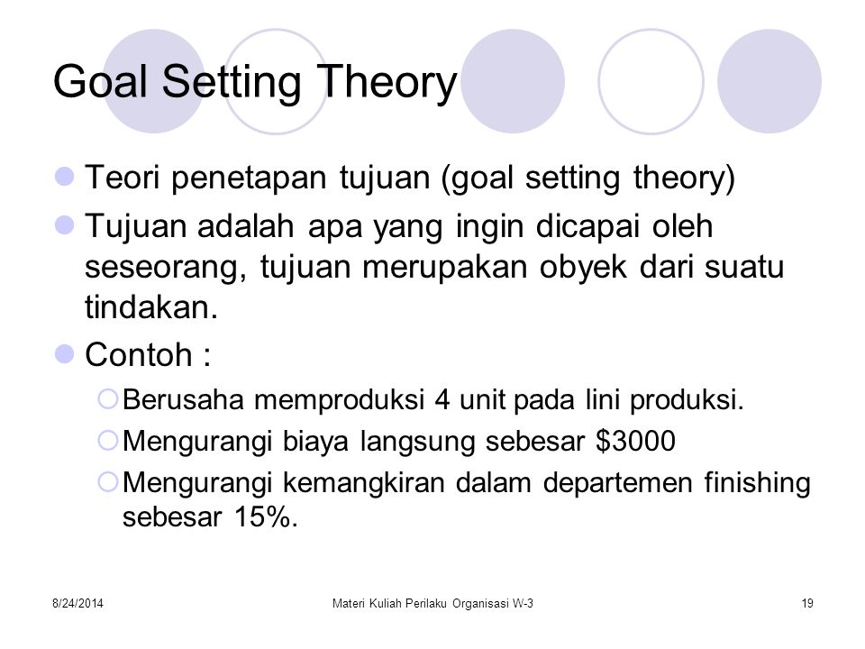 8/24/2014Materi Kuliah Perilaku Organisasi W-319 Goal Setting Theory Teori penetapan tujuan (goal setting theory) Tujuan adalah apa yang ingin dicapai