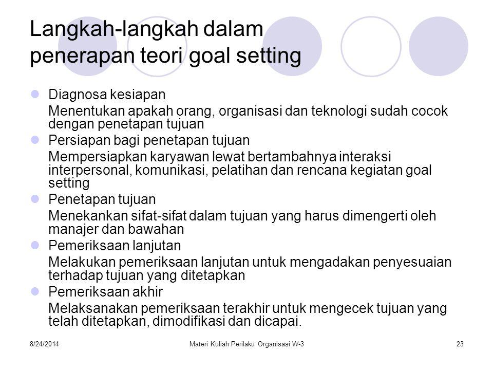 8/24/2014Materi Kuliah Perilaku Organisasi W-323 Langkah-langkah dalam penerapan teori goal setting Diagnosa kesiapan Menentukan apakah orang, organis