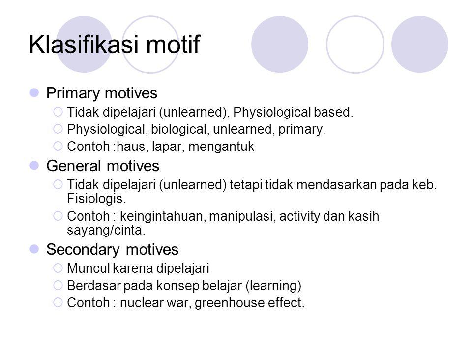 Klasifikasi motif Primary motives  Tidak dipelajari (unlearned), Physiological based.  Physiological, biological, unlearned, primary.  Contoh :haus