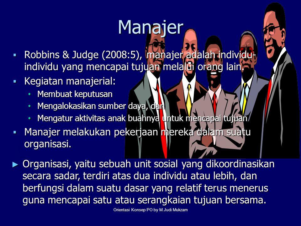 Manajer  Robbins & Judge (2008:5), manajer adalah individu- individu yang mencapai tujuan melalui orang lain.  Kegiatan manajerial: Membuat keputusa
