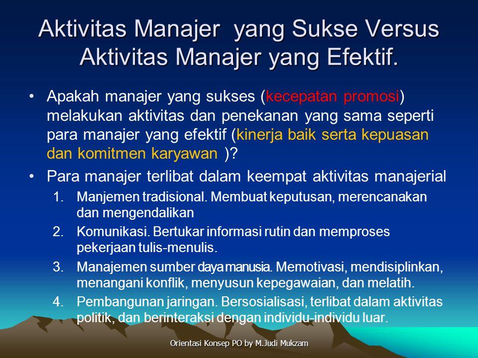 Aktivitas Manajer yang Sukse Versus Aktivitas Manajer yang Efektif. Apakah manajer yang sukses (kecepatan promosi) melakukan aktivitas dan penekanan y
