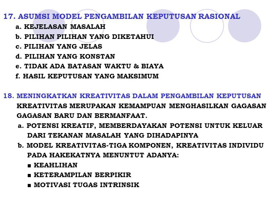 17.ASUMSI MODEL PENGAMBILAN KEPUTUSAN RASIONAL a.