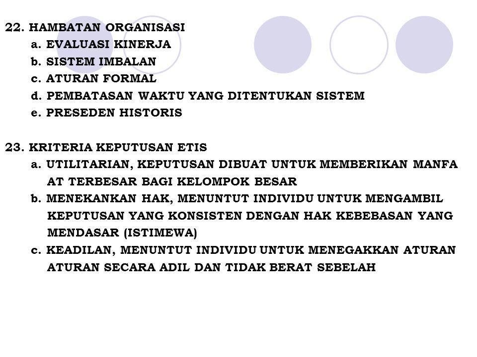 22.HAMBATAN ORGANISASI a. EVALUASI KINERJA b. SISTEM IMBALAN c.