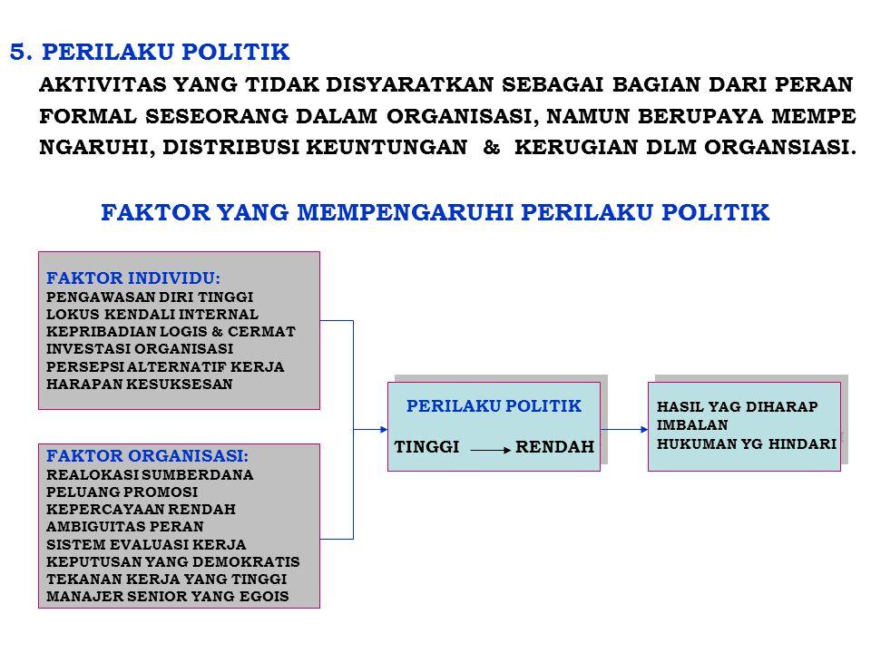 5. PERILAKU POLITIK AKTIVITAS YANG TIDAK DISYARATKAN SEBAGAI BAGIAN DARI PERAN FORMAL SESEORANG DALAM ORGANISASI, NAMUN BERUPAYA MEMPE NGARUHI, DISTRI