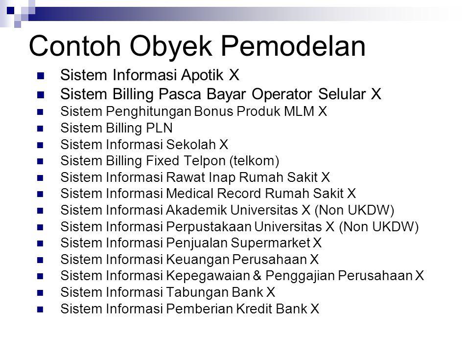 Contoh Obyek Pemodelan Sistem Informasi Apotik X Sistem Billing Pasca Bayar Operator Selular X Sistem Penghitungan Bonus Produk MLM X Sistem Billing P
