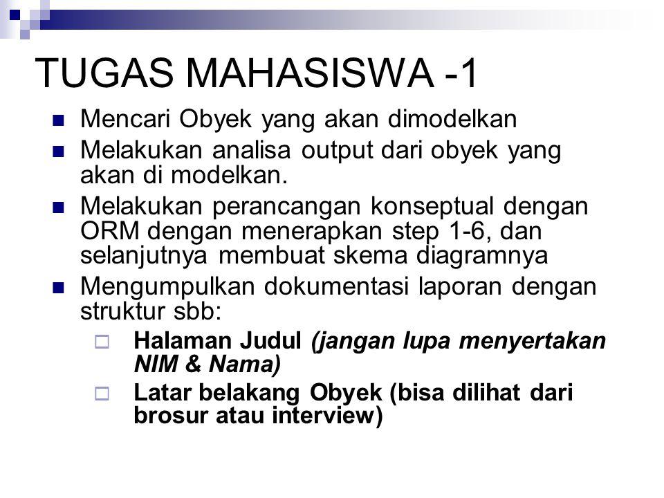 TUGAS MAHASISWA -1 Mencari Obyek yang akan dimodelkan Melakukan analisa output dari obyek yang akan di modelkan. Melakukan perancangan konseptual deng