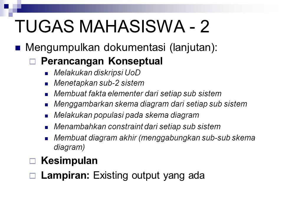 TUGAS MAHASISWA - 2 Mengumpulkan dokumentasi (lanjutan):  Perancangan Konseptual Melakukan diskripsi UoD Menetapkan sub-2 sistem Membuat fakta elemen