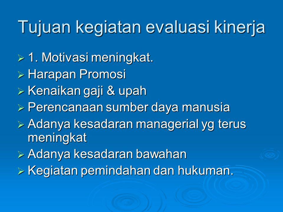 Syarat menetapkan kriteria utk melaksankan kgt evaluasi kinerja 1.