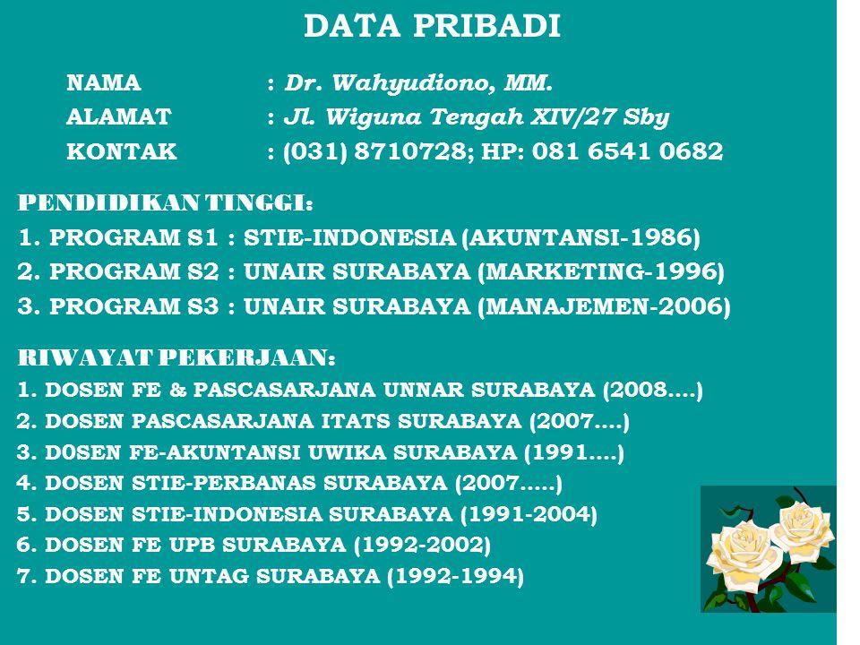 DATA PRIBADI NAMA: Dr. Wahyudiono, MM. ALAMAT: Jl. Wiguna Tengah XIV/27 Sby KONTAK: (031) 8710728; HP: 081 6541 0682 PENDIDIKAN TINGGI: 1. PROGRAM S1