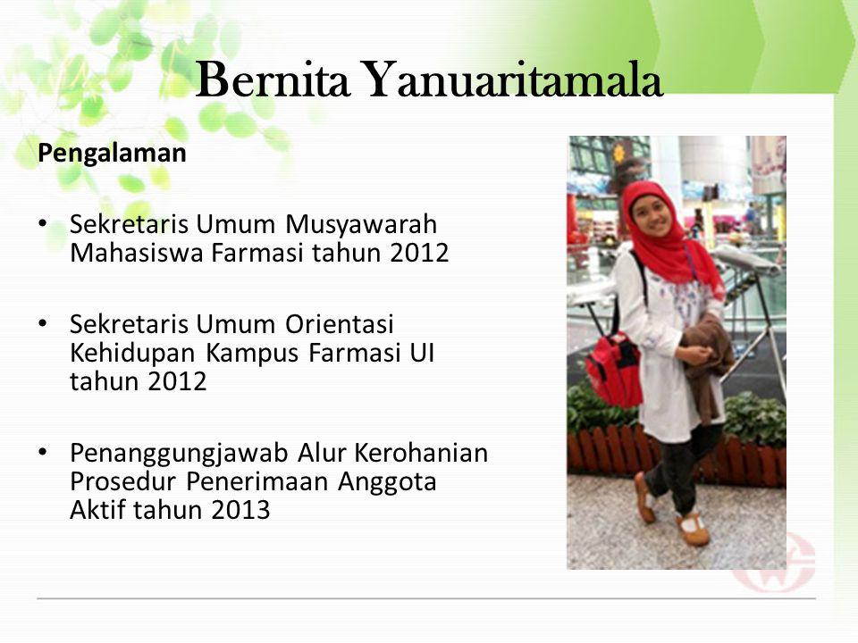 Dinar Amalia Pengalaman Deputi Departemen Keolahragaan dan Kreativitas (Dekokta) BEM FFUI 2013 Ketua Kontingen FFUI untuk UI Art War 2013 Project Officer Bakti Sosial Alur PPAA 2012