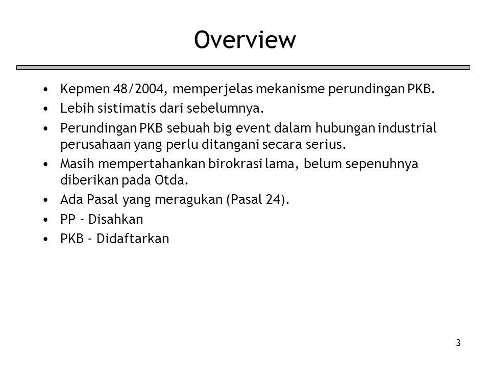 3 Overview Kepmen 48/2004, memperjelas mekanisme perundingan PKB. Lebih sistimatis dari sebelumnya. Perundingan PKB sebuah big event dalam hubungan in