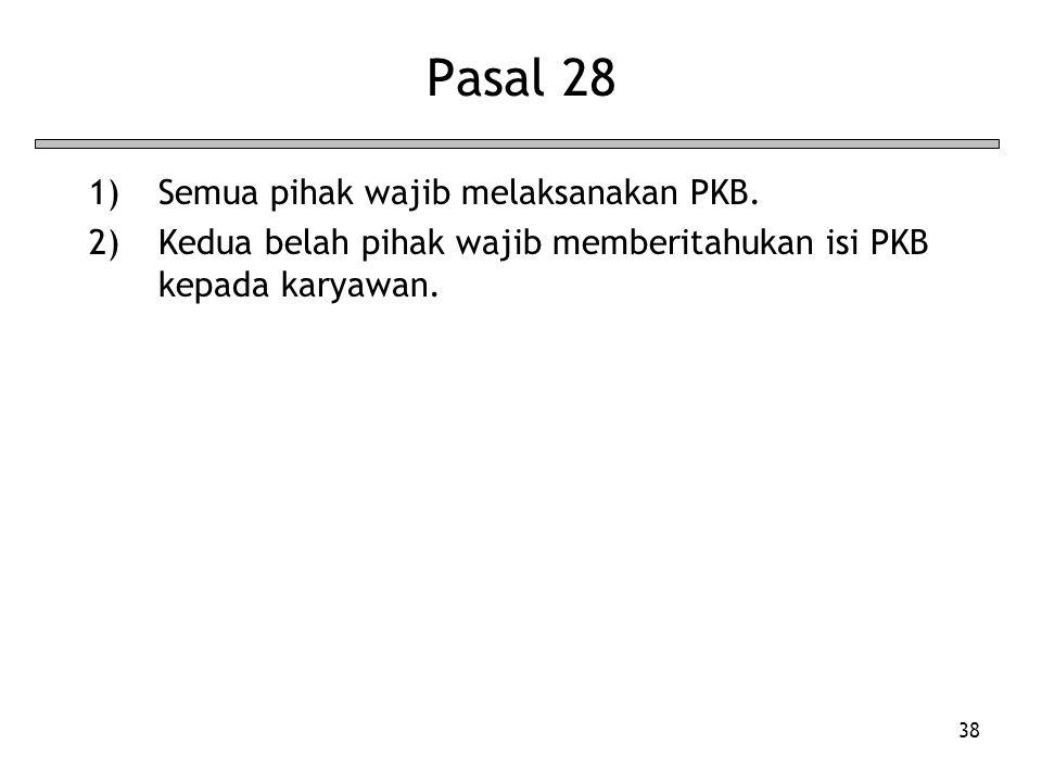 38 Pasal 28 1)Semua pihak wajib melaksanakan PKB. 2)Kedua belah pihak wajib memberitahukan isi PKB kepada karyawan.