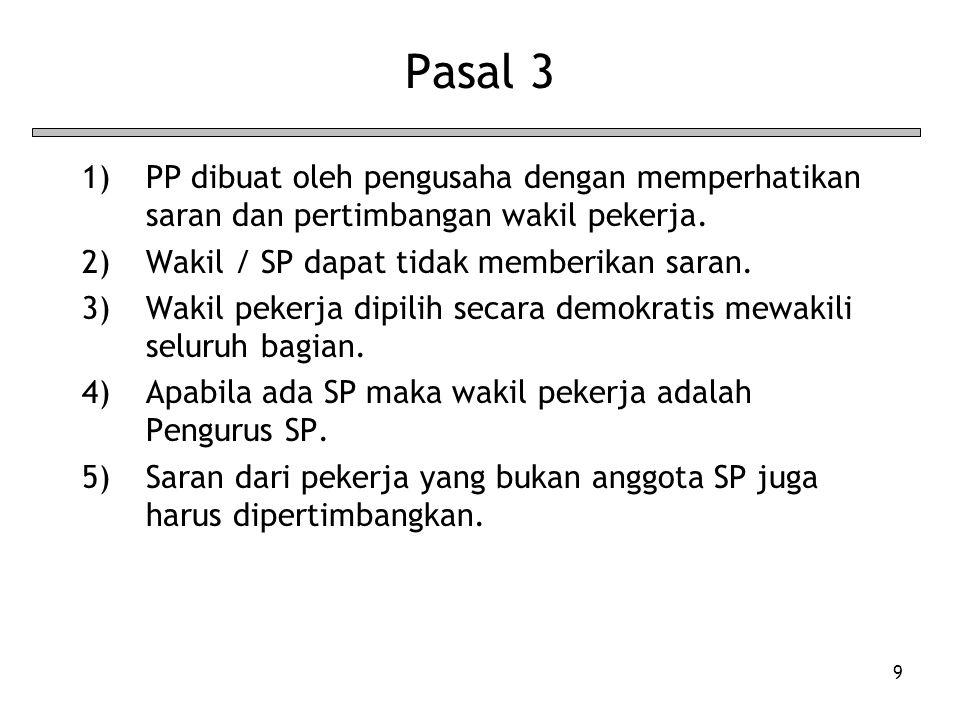 9 Pasal 3 1)PP dibuat oleh pengusaha dengan memperhatikan saran dan pertimbangan wakil pekerja. 2)Wakil / SP dapat tidak memberikan saran. 3)Wakil pek