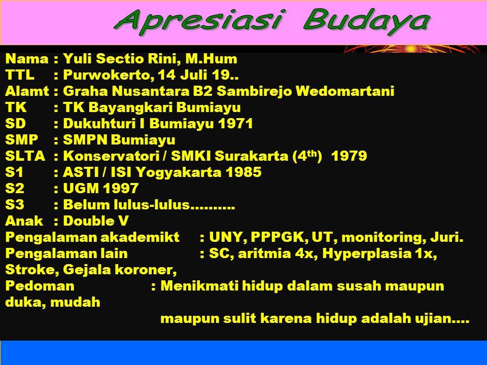Nama: Yuli Sectio Rini, M.Hum TTL: Purwokerto, 14 Juli 19..