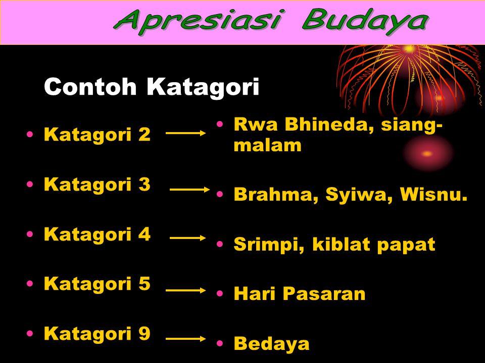 Contoh Katagori Katagori 2 Katagori 3 Katagori 4 Katagori 5 Katagori 9 Rwa Bhineda, siang- malam Brahma, Syiwa, Wisnu.