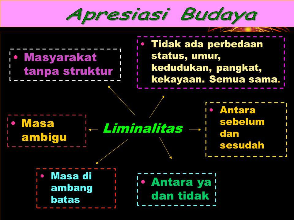 Liminalitas Masyarakat tanpa struktur Tidak ada perbedaan status, umur, kedudukan, pangkat, kekayaan.