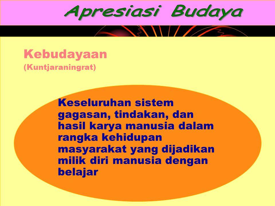 Kebudayaan (Kuntjaraningrat) Keseluruhan sistem gagasan, tindakan, dan hasil karya manusia dalam rangka kehidupan masyarakat yang dijadikan milik diri