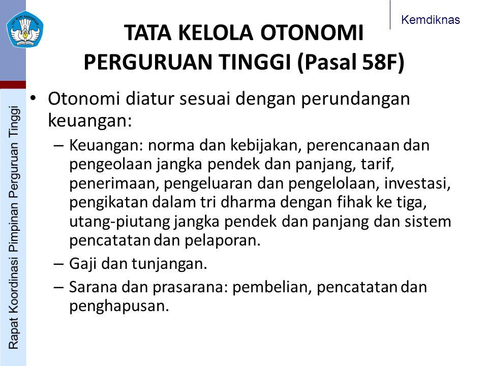 Kemdiknas Otonomi diatur sesuai dengan perundangan keuangan: – Keuangan: norma dan kebijakan, perencanaan dan pengeolaan jangka pendek dan panjang, ta