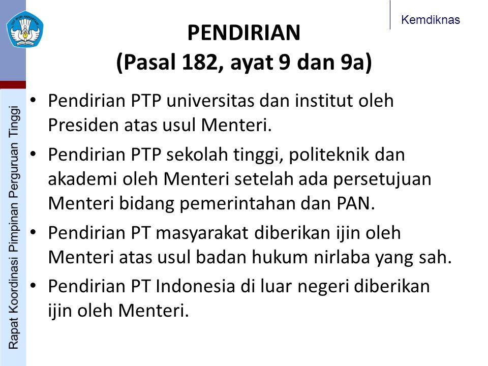 Kemdiknas PENDIRIAN (Pasal 182, ayat 9 dan 9a) Pendirian PTP universitas dan institut oleh Presiden atas usul Menteri. Pendirian PTP sekolah tinggi, p