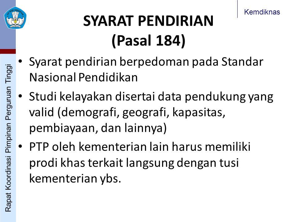 Kemdiknas SYARAT PENDIRIAN (Pasal 184) Syarat pendirian berpedoman pada Standar Nasional Pendidikan Studi kelayakan disertai data pendukung yang valid