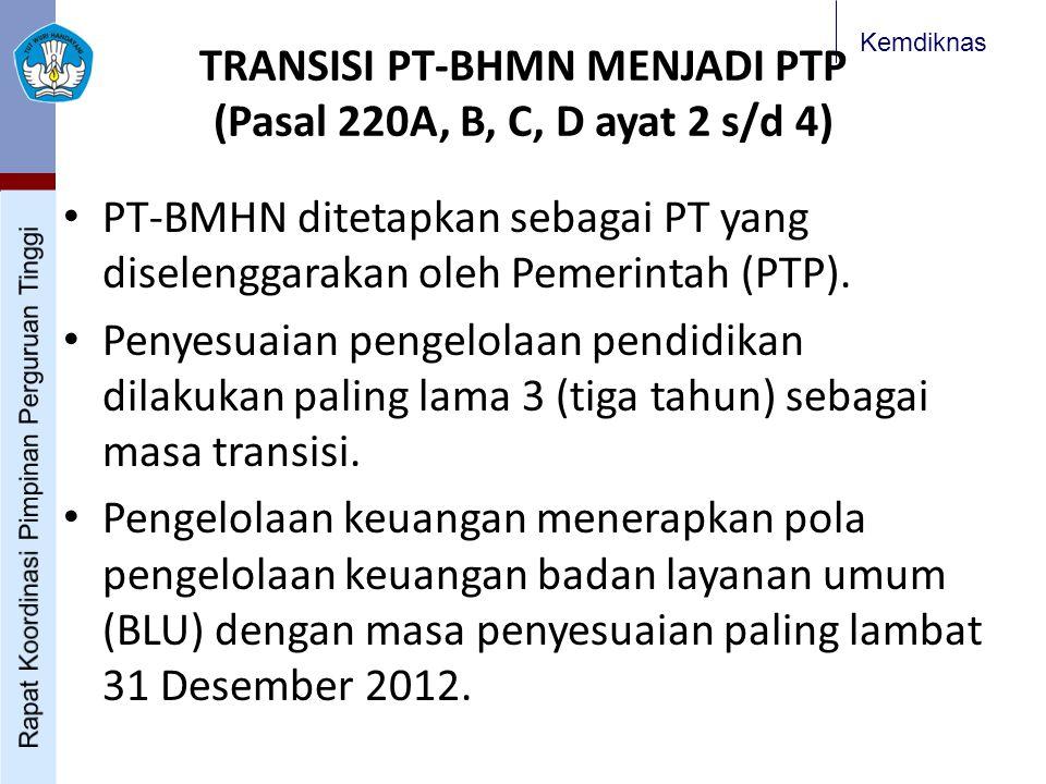 Kemdiknas TRANSISI PT-BHMN MENJADI PTP (Pasal 220A, B, C, D ayat 2 s/d 4) PT-BMHN ditetapkan sebagai PT yang diselenggarakan oleh Pemerintah (PTP).